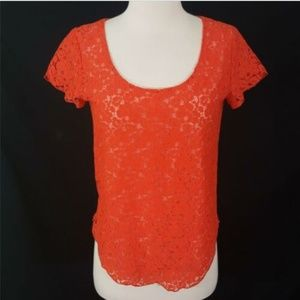 Aritzia Talula Red Coral Lace Blouse XS Top